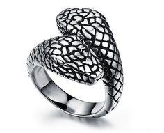 Ring For Men Skull Inside Snake Anaconda 3 Colors Top Quality Stainless Steel