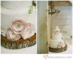 Rustic wedding cake. So pretty! Like the idea of the lace material or paper to set the cake on so it does not touch the wood.