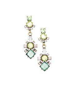 Green Crystal Drop Earrings #zulily #zulilyfinds