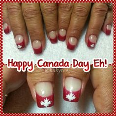 Happy Canada Day Eh! Hand painted 'Ravishing Red' French manicure with Maple Leaves sculpted square gel nails ♥ Follow me on Instagram @hakyree_