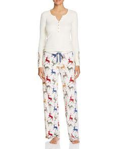 41.25$  Buy now - http://vipyj.justgood.pw/vig/item.php?t=eqvg44q33536 - Henley Top & Reindeer Print Thermal Pajama Pants 41.25$