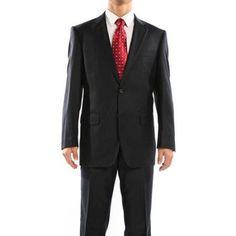 Revelino Men's Black Pinstripe Classic Fit Italian Styled Virgin Wool Suit, Size: 46R