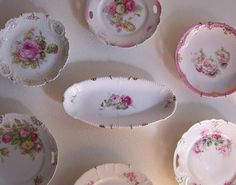 collection of vintage and antique pink roses china.
