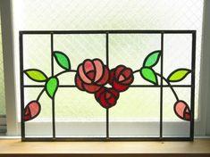 バラのステンドグラスパネル「antique rose」