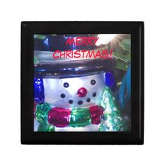 Merry Christmas Snowman Gifting Box from Florals by Fred #zazzle #gift #Christmas