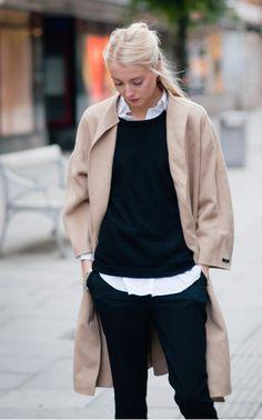 camel coat + black and white basics