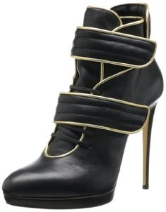 7ae72d3c0b8a Casadei Women s Double Strap Platform M US. Platform bootie featuring  lace-up closure with blind eyelets and two quilted hook-and-loop straps.
