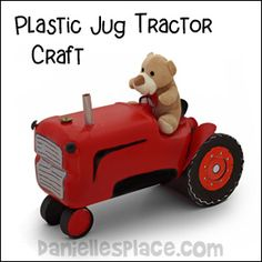 Tractor Craft Made from a Plastic Water Jug, Oatmeal Canister, and a Paper Cup Craft from www.daniellesplace.com