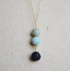 Lava Bead Diffuser Necklace Amazonite Lava Bead by GemstoneWorks