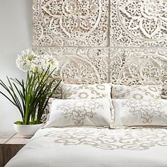 Bedroom Style Tip: Use multiples of our whitewashed & meticulously hand-carved Sanctuary Panels as a fresh spring twist on a headboard. Coastal Bedrooms, Bedroom Styles, Beautiful Bedrooms, Beautiful Beds, Home Decor Bedroom, Bedroom Ideas, Bedroom Inspiration, Style Inspiration, Home Fashion