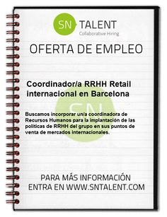 #Empleo Coordinador/a #RRHH Retail internacional en #Barcelona