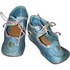 Antique Blue German Doll Shoes Larger Sized!