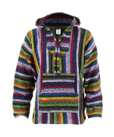 Siesta Mexican Baja Jerga Hooded Hippie Jumper - Vibrant stripe