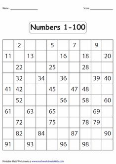 5 Best Images of Hundred Printable 100 Number Chart Partially Filled In - Free Hundred Printable 100 Chart, 100 Chart Fill in Missing Number Worksheet and Printable Fill in the Blank Hundreds Chart This page contains a lot of printable number charts up to Printable Math Worksheets, Kindergarten Math Worksheets, Alphabet Worksheets, Worksheets For Kids, Teaching Math, Maths, Kindergarten Reading Activities, Teaching Numbers, Number Worksheets