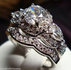 2pcs Vintage Style 2 31ctw CZ Engagement Wedding Ring Set 18K GP 5 6 7 8 9 10   eBay