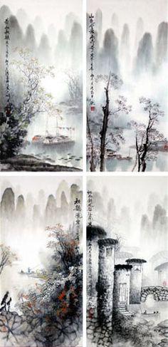 brush painting Chinese dragon mountains