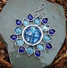 Blue Flower Moon Face ~ Stained Glass Suncatcher