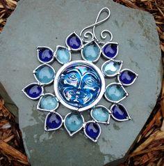 Blue Flower Moon Face ~ Stained Glass Suncatcher