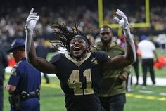 8122778b93a New Orleans Saints running back Alvin Kamara (41) celebrates after the game  between the
