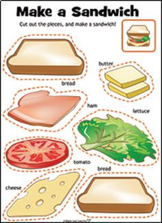"""Let's Make a Sandwich Bundle This bundle contains music, video, an activity, and flashcards for """"Let's Make a Sandwich"""" by Maple Leaf Learning. Flashcards For Kids, Printable Activities For Kids, Preschool Learning Activities, Preschool Worksheets, Toddler Activities, Preschool Activities, Kids Learning, Learning Music, Nutrition Activities"""