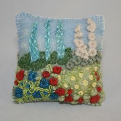 SIMPLE WOOL EMBROIDERY - Cottage Garden Pincushion  £8.50