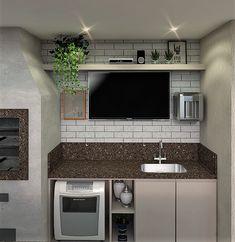 Área de Churrasqueira Pequena e Super prática com Pia, TV, filtro e máquina de lavar louça.