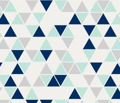 double scale triangles in mint, navy, grey fabric by trizzuto on Spoonflower - custom fabric