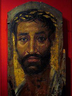 Fayum (or Fayoum) mummy portrait of a thin-faced man with a gilded wreath by ggnyc, via Flickr #fayum #mummy #portrait #art