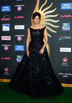 Sridevi in haute black shimmering A-line gown