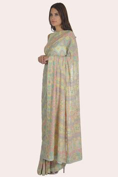Ivory Resham Multi-Colour Intricate Chikankari And Kamdaani Saree