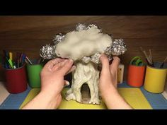 How To Make a Fantasy Fairy Treehouse Paper Clay toadstool ,Fairy Garden Ornament Fairy Garden Ornaments, Fairy Tree Houses, Clay Fairy House, Fairy Crafts, Fairy Garden Houses, Fairy Gardening, Fairies Garden, Garden Crafts, Clay Crafts