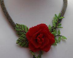 Collar rosa joyería flor grano collar rojo rosa collar flor abalorios joyas collar regalo colgante rosas romántico collar