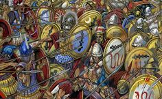 Macedonian hypaspists vs Theban hoplites