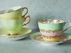 Pastel Colored Teacups and Saucers