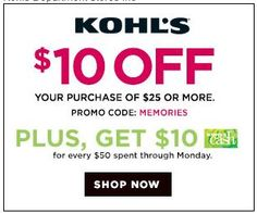 6fac461561 Kohl s Memorial Sale Promo Codes ~ Stack this  10 off with other promo  codes plus get