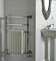Victorian style electric heated towel rail - genius solution for our cottage bat. Victorian style electric heated towel rail – genius solution for our cottage bathroom Bathroom Towel Radiators, Wall Radiators, Column Radiators, Bathroom Towels, Traditional Towel Radiator, Traditional Radiators, Traditional Bathroom, Victorian Radiators, Towel Heater
