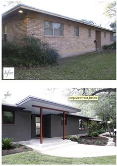 28 Best Ideas House Exterior Remodel Before And After Brick Ranch Ranch Exterior, House Paint Exterior, Exterior Remodel, Exterior House Colors, Modern Exterior, Modern Patio, Diy Exterior, Contemporary Patio, Exterior Siding