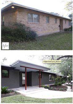painted brick & modern awning