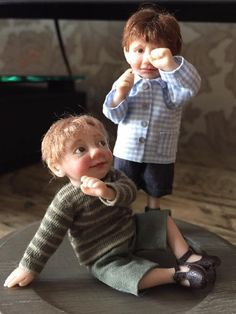 Dollhouse size OOAK boys by Catherine Muniere