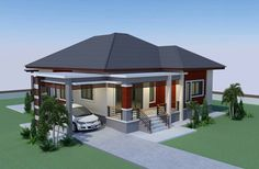This house concept is simple in design yet the touch of elegance is stil l in it. With 3 bedrooms, this house is 143 square meters total floor area. The minimum lot requirement is meters by 20 … Modern Bungalow House Design, Modern Small House Design, Simple House Design, My House Plans, Modern House Plans, Small House Plans, 5 Bedroom House Plans, Elevated House Plans, Philippines House Design