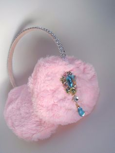 Scream Queens Pink Ear Muffs Earmuff Earrings Headband Hair Accessory Rhinestone | eBay