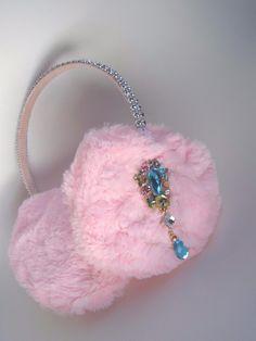 Scream Queens Pink Ear Muffs Earmuff Earrings Headband Hair Accessory Rhinestone | eBay