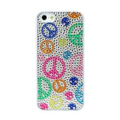 1PCS + Film Diamond Bling Case Plastic Hard love&peace iphone 5 5s coque