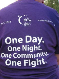This is Relay.....going on in communities all over the world. Love this quote!! Poster idea for next year?