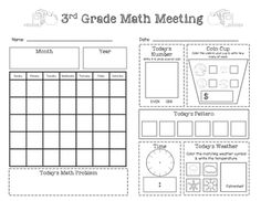 Saxon Math Meeting Worksheet (Grade 3) FREEBIE!  Visit www.littlelearninglane.com for more fun ideas & free printables!