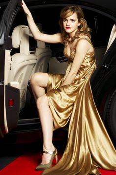 Emma Watson in gold dress