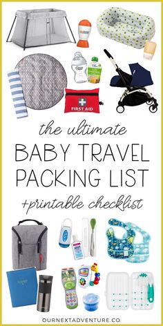 Ultimate Packing List for Baby Travel (+printable checklist!) Traveling with a baby? Read our ultimate baby travel packing list with all the essentials you might possibly need (+a free printable checklist!) // First Trip with Baby Travel Tips With Baby, Traveling With Baby, Baby Travel, Travel Bag, Baby Tips, Family Travel, Traveling With Children, Camping With A Baby, Travel List
