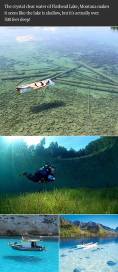 The crystal clear water of Flathead Lake, Montana makes it seem like the lake is shallow, but it's actually over 300 feet deep!: