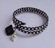 Macrame over memory wire bracelet, flowertownoriginals, etsy, sold