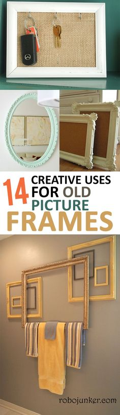 You will love these unique ways to upcycle old picture frames.                                                                                                                                                                                 More Ideas For Frames, Picture Frame Decorating Ideas, Frames For Pictures, Diy Picture Frame Crafts, Decorating Frames, Picture Frame Projects, Frames Decor, Old Frames, Heim